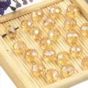 Beads, Selenial Crystal, Crystal, Light brown AB, Faceted Discs, 8mm x 8mm x 6mm, 10 Beads, [ZZC109]